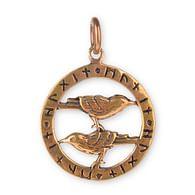 Amulet havrani s runami, bronzový