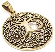 Bronzový amulet Strom života se sluncem a měsícem
