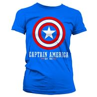 Dámské tričko Captain America - Štít logo, modré
