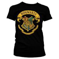 Dámské tričko Harry Potter - Bradavický erb, černé