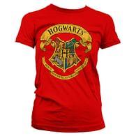 Dámské tričko Harry Potter - Bradavický erb, červené