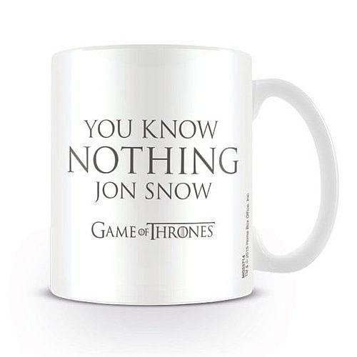 CurePink Keramický hrnek Game of Thrones/Hra o trůny: You Know Nothing Jon Snow bíly 315 ml