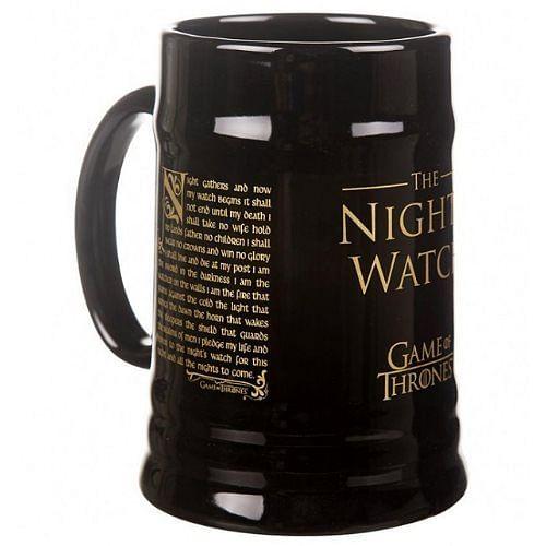 CurePink Keramický korbel Game of Thrones/Hra o trůny Nights's Watch černý černý 595 ml