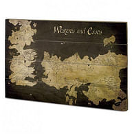Nástěnný dřevěný obraz Games of Thrones - Westeros a Essos