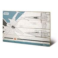 Nástěnný dřevěný obraz Star Wars VIII - X-Wing Plans