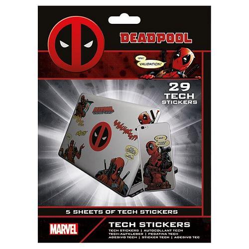 CurePink: | Samolepky na elektroniku Marvel|Deadpool: Merc With A Mouth (5 listů|35 kusů) [TS7408]