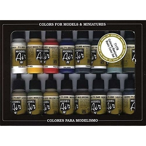 Vallejo: Basic Colors - Acrylic 16 Airbrush Paint Set for Model and Hobby 17ml